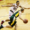 New Albany guard Jermaine Parrish guards Floyd Central guard Drew Hussung during their game at New Albany on Friday. Staff photo by Christopher Fryer