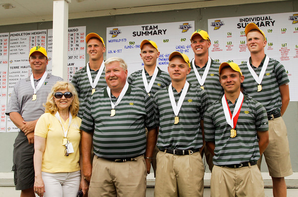 The Floyd Central golf team poses for photographs after receiving their third place medals following the final round of the state golf tournament at the Legends Golf Club in Franklin on Wednesday afternoon. The team finished with an overall score of 580, and senior Devin Jenkins finished individually as the state runner-up with a score of 137. Staff photo by Christopher Fryer