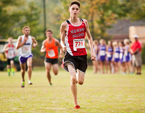 New Albany's Tim Baumgart approaches the finish line during the Hoosier Hills Conference cross country meet at Prosser on Saturday morning. Baumgart finished 18th in the race. Staff photo by Christopher Fryer