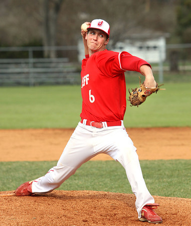 Jeffersonville junior Chandler Dale works the mound against Providence Monday afternoon. Staff photo by C.E. Branham