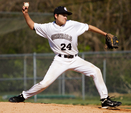 Clarksville's Ryan Grant pitches during the Generals' home game against Providence on Wednesday. Providence won the game in five innings, 13-0. Staff photo by Christopher Fryer