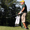 Floyd Central golfer Devin Jenkins pitches onto the second green of the IHSAA Golf Regional at Champions Pointe Golf Club. Staff photo by C.E. Branham