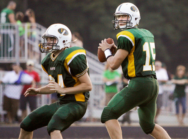 Floyd Central junior Colton Kimm looks to pass during their home game against Providence on Friday. Staff photo by Christopher Fryer