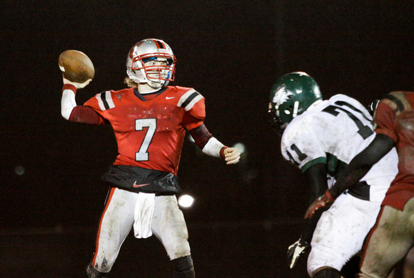 Jeffersonville quarterback Tyler Fridley makes a pass downfield during the first half of their home game against Evansville North on Friday. Staff photo by Christopher Fryer