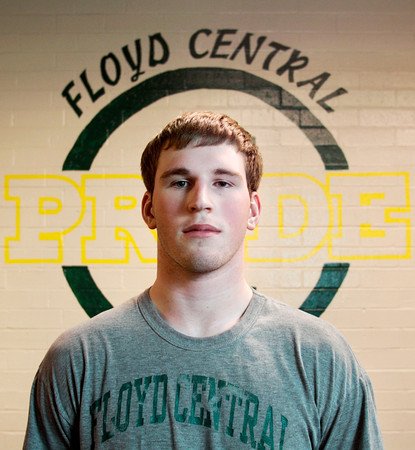 Senior wrestler Nick Ottersbach stands in the wrestling room at Floyd Central High School on Tuesday afternoon. Ottersbach competes in the 220-pound weight division and currently has a record of 23-3. Staff photo by Christopher Fryer