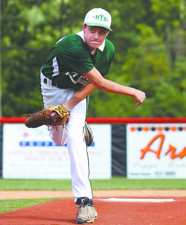 HYR 11-12 pitcher Blake Barrett delivers a pitch in their District V pool play game against New Albany on Saturday. Staff photo by C.E. Branham