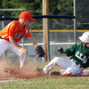 Highlander Youth Recreation 10-11 All-Star Jalen Poates slides in for a triple against Silver Creek in District V tourney play Monday night. Staff photo by C.E. Branham