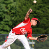 Jeff/GRC 9-10 All-Star pitcher Ben Harbeson delivers a pitch as his team opened District V play Wednesday evening against Clarksville. Staff photo by C.E. Branham