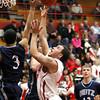 Jeffersonville guard Myles Harvey drives to the basket against Evansville Reitz Friday night. Staff photo by C.E. Branham