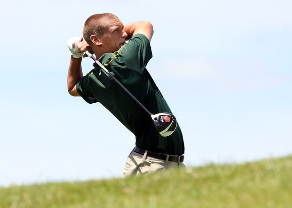 Floyd Central junior Daniel Shepard shot a even par 72 to lead the Highlanders to a fifth place finish in the IHSAA Golf State Finals Wednesday at The Legends Golf Club. Staff photo by C.E. Branham