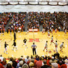 New Albany and Jeffersonville players warm up before the start of their game at New Albany on Friday. New Albany won the game, 67-56. Staff photo by Christopher Fryer