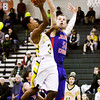 Floyd Central guard Myles Ervin goes up for a shot during the Highlanders' home game against Jennings County on Tuesday. Staff photo by Christopher Fryer