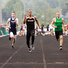 New Albany senior Jermaine Parrish finishes first in the 100-meter dash during the Floyd Central sectional track meet on Thursday. Staff photo by Christopher Fryer