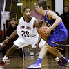 New Albany guard Leondre McBirth covers Castle guard Braden Sims during their game at New Albany on Tuesday. Staff photo by Christopher Fryer