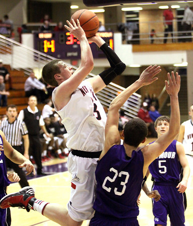 New Albany senior Josh Rogers scores against Seymour in the 4A sectional at Seymour. Staff photo by C.E. Branham