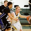 Floyd Central guard Drew Hussung drives the ball down court during their home game against Charlestown on Friday. Floyd Central won the game in double overtime, 81-79. Staff photo by Christopher Fryer