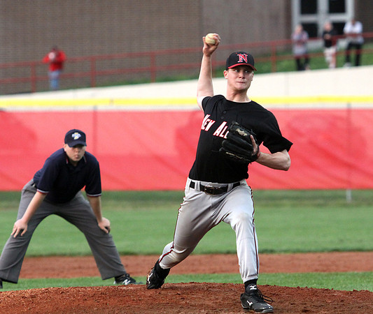 New Albany pitcher Garrett Sherrell works against Jeffersonville Wednesday night at Don Poole Field. Staff photo by C.E. Branham