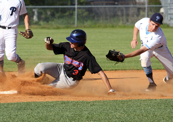 Silver Creek player Jamie Valvano slides safely around the tag of Providence  shortstop Ben Shahroudi while stealing second Tuesday afternoon at Providence. Staff photo by C.E. Branham