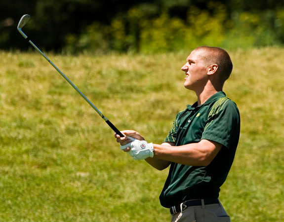Floyd Central High School junior Daniel Shepard hits from the fairway on the 11th hole during the Indiana High School State Athletic Association Boys Golf State Finals at The Legends Golf Club in Franklin on Tuesday afternoon. Staff photo by Christopher Fryer