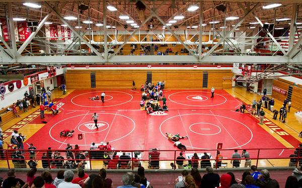 Wrestlers compete during the Jeffersonville Sectional on Saturday. Staff photo by Christopher Fryer