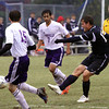 Providence senior Andrew Wimp takes a shot on goal as the Pioneers opened 1A Soccer Sectional play Monday night against Lanesville. Staff photo by C.E. Branham