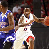 Indiana All-Star and Indiana University recruit Yogi Ferrell leads the break agsinst the Kentucky All-Stars Friday night at Freedom Hall. Staff photo by C.E. Branham