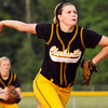 Clarksville freshman Bailey Sharp pitches during their game against Paoli at the Eastern High School sectional tournament on Monday. Staff photo by Christopher Fryer