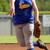 New Washington sophomore Brooke Shaw pitches during their game against Lanesville in the Lanesville sectional tournament on Tuesday. Lanesville won the game, 1-0. Staff photo by Christopher Fryer