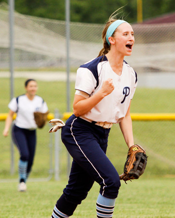 Providence shortstop Jacquie Hornung celebrates after the Pioneers defeated Eastern 19-2 in the championship game of the Eastern sectional tournament on Thursday. Staff photo by Christopher Fryer