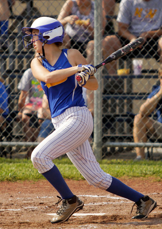 New Washington freshman Kaelin Williams connects for a single during the Mustangs' game against South Central at the Lanesville Sectional on Monday. Staff photo by Christopher Fryer