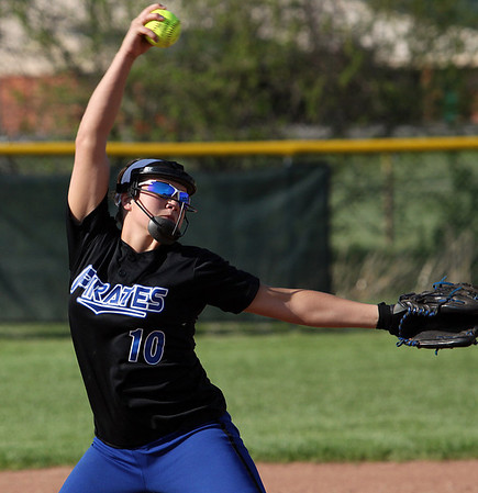 Alli Webster delivers a pitch in a game against Floyd Central on Thursday evening. Staff photo by C.E. Branham