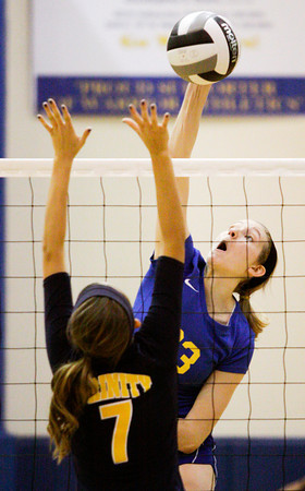 Christian Academy of Indiana sophomore Krista Boesing goes for a kill during their regional tournament match against Trinity Lutheran at CAI on Tuesday. Trinity Lutheran won the match in four sets. Staff photo by Christopher Fryer