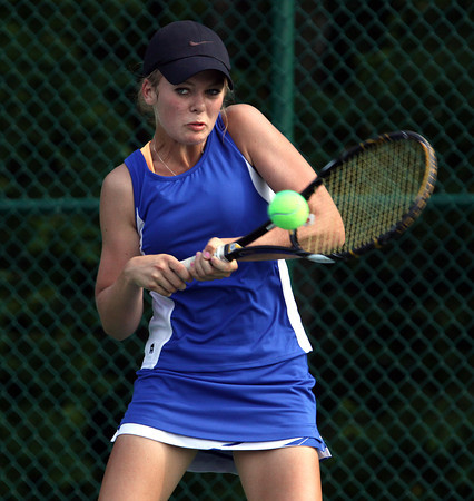 Silver Creek sophomore Kathleen Hebble playing No. 1 singles in the Regional final. Staff photo by C.E. Branham