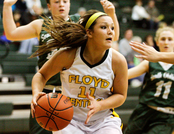 Floyd Central forward Madison Kaiser drives towards the basket during their game against South Oldham at Floyd Central on Wednesday. Staff photo by Christopher Fryer