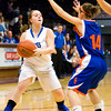 Charlestown's Shelby Goedeker looks to pass during their game against Silver Creek in the Scottsburg sectional tournament on Wednesday. Silver Creek won the game, 51-38. Staff photo by Christopher Fryer