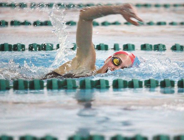 Floyd Central freshman Meg Taylor claimed a sectional crown Saturday in the 200 yard freestyle with a time of 1:58.22.  Staff photo by C.E. Branham