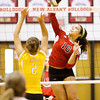 New Albany junior Audrey Donastorg goes up for a shot during their match against Evansville Central in the championship round of the River City Invitational at New Albany on Saturday. New Albany won the match in two sets, 25-21, 25-18. Staff photo by Christopher Fryer