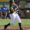 Floyd Central senior Samantha Feather rips a double in the first inning of the Lady Highlanders' 11-4 loss to Castle in the 4A Regional. Staff photo by C.E. Branham