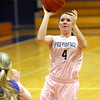 Providence senior Meredith Endris scores for the Lady Pioneers against New Washington Tuesday night. Staff photo by C.E. Branham