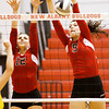 New Albany senior Olivia Balmer, left, and junior Alexis Lete go up for a block during their match against Evansville Central in the championship round of the River City Invitational at New Albany on Saturday. New Albany won the match in two sets, 25-21, 25-18. Staff photo by Christopher Fryer