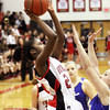 New Albany freshman Aaliyah Bell shoots against New Washington Tuesday night. Staff photo by C.E. Branham