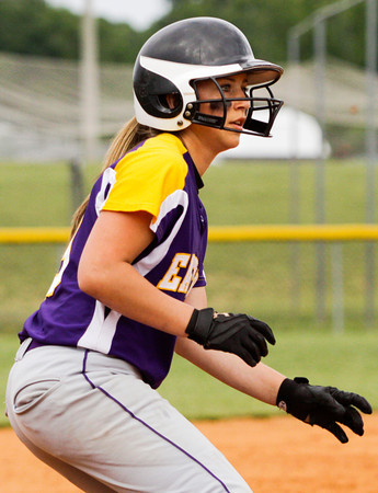 Eastern freshman Laken Heavner leads off from third base before scoring during their game against Providence in the championship round of the Eastern sectional tournament on Thursday. Providence won the game in five innings, 19-2. Staff photo by Christopher Fryer