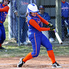 Silver Creek batter Sydney Ledwedge rips a double at New Washington Monday afternoon.