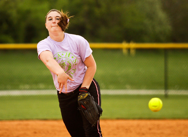 New Albany's Hannah Morton pitches during their home game against Providence on Tuesday. New Albany won the game, 3-0. Staff photo by Christopher Fryer