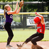 Borden senior Caitlin McKinley makes it safely to second base during the Braves' 1-0 win over Lanesville at the Lanesville Sectional on Monday. Staff photo by Christopher Fryer