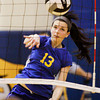 Christian Academy of Indiana junior Emily Haworth hits a shot into the net during their regional tournament match against Trinity Lutheran at CAI on Tuesday. Trinity Lutheran won the match in four sets. Staff photo by Christopher Fryer