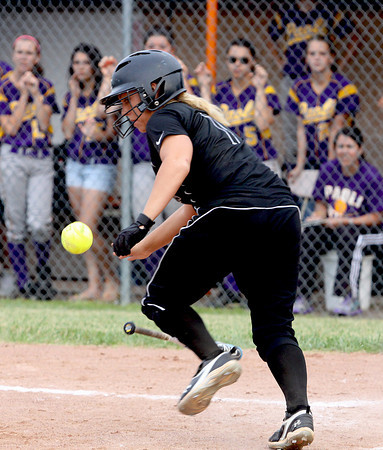 Alexa Medlock lays down a bunt for Clarksville against Paoli in the 2A sectional at Crawford County on Monday. Staff photo by C.E. Branham