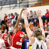 Jeffersonville sophomore Chelsea Lewis puts up a shot against New Washington on Thursday night. Staff photo by C.E. Branham