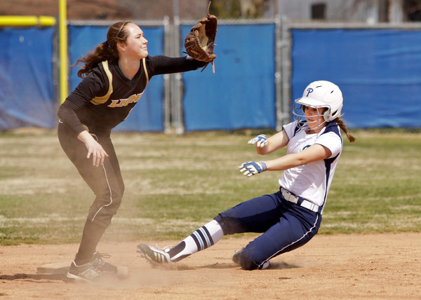 Providence left fielder Meredith Endris slides safely into second base during the first inning of their game against Loogootee at the Providence Invitational in Clarksville on Saturday. Staff photo by Christopher Fryer