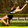 New Albany sophomore Claire Hirsch competes in the high-jump during the Floyd Central Girl's Invitational track meet on Friday. Staff photo by Christopher Fryer